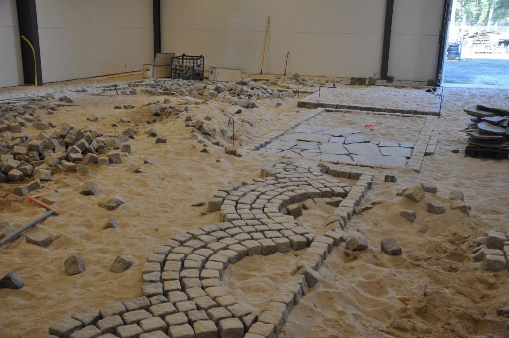 Sandhall för anläggningsövningar inomhus